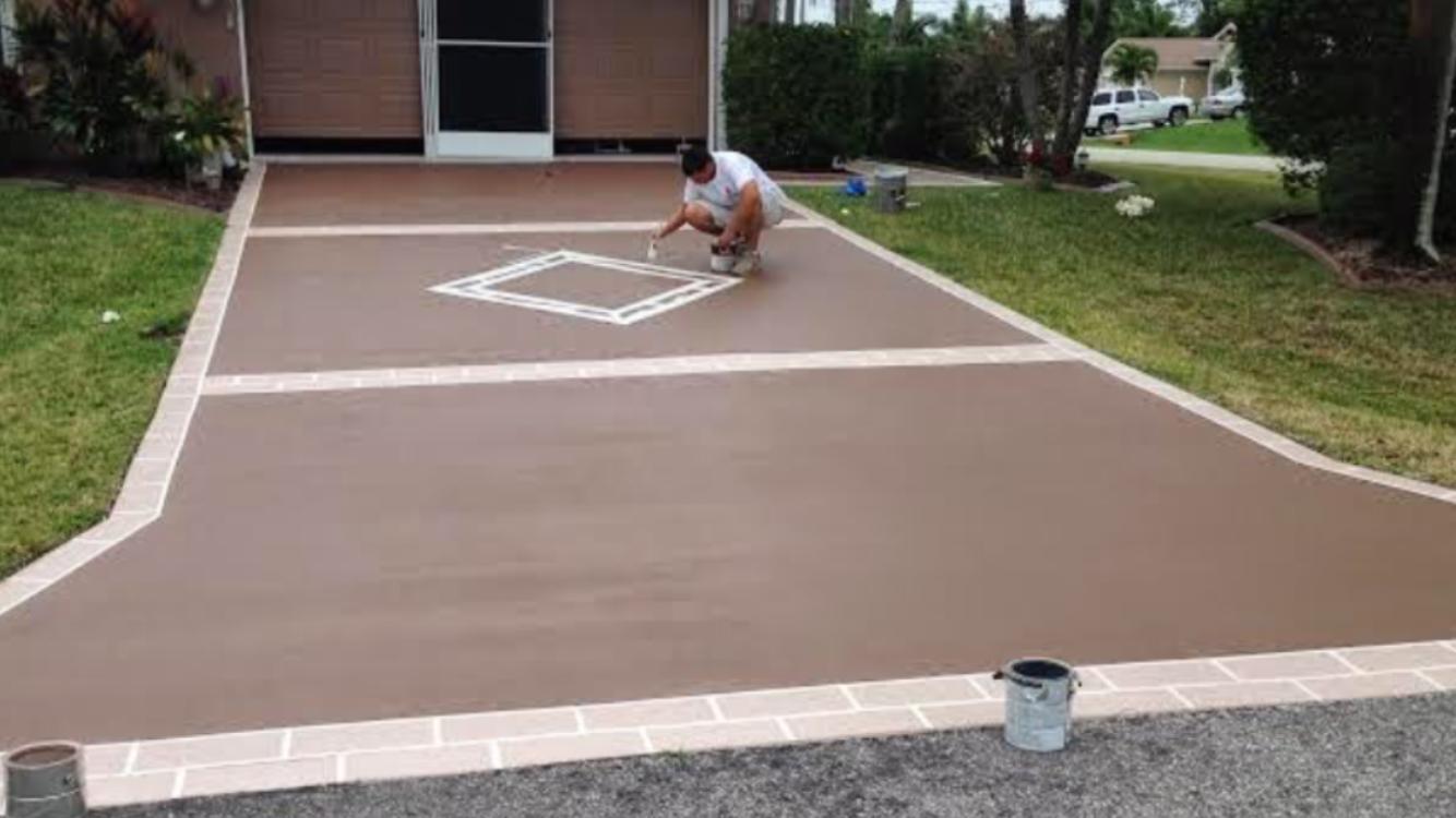 Paint Exterior Concrete Driveways
